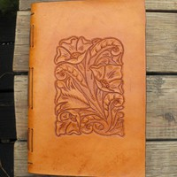 Handmade Tan Leather Western Journal | lindasgarden - Leather Craft on ArtFire