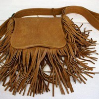 Bison Buffalo hide fringed leather purse | BlackBearGifts - Leather Craft on ArtFire