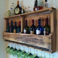 Rustic Wine Rack Reclaimed Wood Handmade Primitive Barnwood