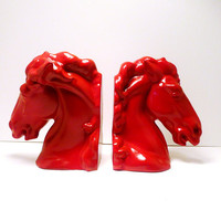 horse head bookends // bright red colorful // by nashpop