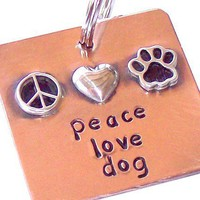 Peace Love Dog Handmade Copper and Silver Pet Tag by UrbanPuppy | UrbanPuppy - Pets on ArtFire