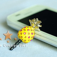 1PC Bling Crystal Fruit Pineapple Earphone by StudioOrangeStar