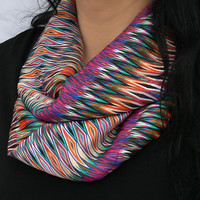 Chevron Circle Scarf. Multicolor Infinity Scarf.  Tube Scarf. Women Accessories