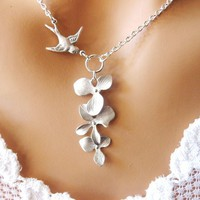 Kayla â?? A Silver Sparrow Hold a Trio Orchid Flowers - Wedding Jewelry | Handmade Jewelry | Bridal