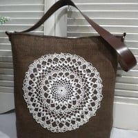 Brown French Burlap  Bag / Hobo Bag  with by maycascollection