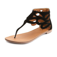 Charlotte Russe - Lattice Ankle-Wrap Zip Sandal