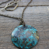 Boho Necklace Copper pendant with bluish green by CopperTreeArt