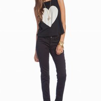 BIG HEART - CASSIDY TANK at Wildfox Couture in - CLEAN BLACK, PRL