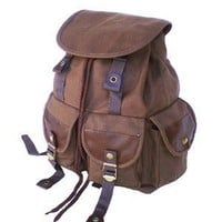 Military Inspired Stylish Backpack Canvas Day Pack Brown