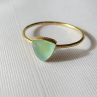 Stacking Ring - Prehnite Trillion In 14K Gold Filled Setting Size 7