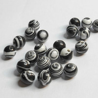 Black and White Stripe Glass Beads 6mm