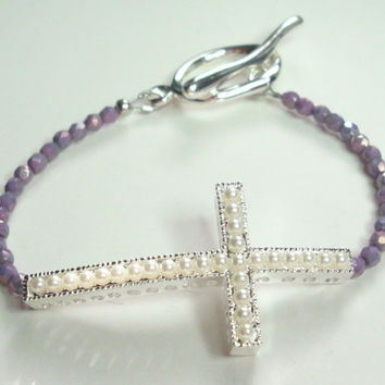 Sideways Cross Bracelet  White Pearl Silver Purple Crystal