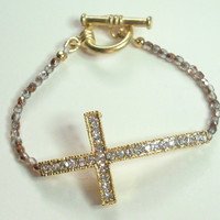 Sideways Cross Bracelet  Chinese Crystal Gold Plated