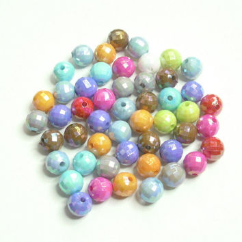 Faceted Acrylic Multicolor Beads 8MM