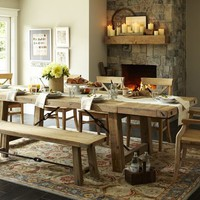 Benchwright Reclaimed Wood Extending Dining Table - Wax Pine finish