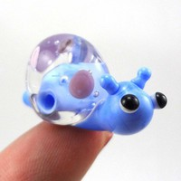 Polka Dotted Snail Lampworked Glass Figurine Bead | MercurysGlass - Dolls & Miniatures on ArtFire