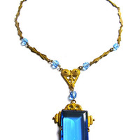 Brass Art Deco Blue Glass Lavalier Necklace