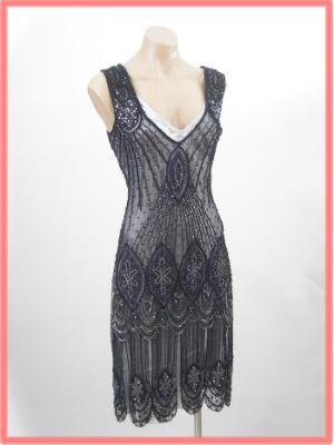 Flapper Dresses-1920s Style Beaded Black Vamp Flapper Dress