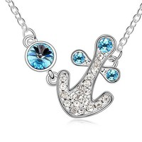 Blue Ocean Anchor Fashion Necklace | LilyFair Jewelry