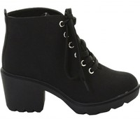 ILWF Black Canvas Lace Up Boot