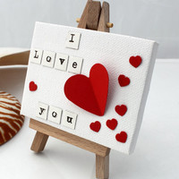 I Love You- red heart desk art decorative collage on mini canvas- miniature canvas on easel- First paper anniversary gift- 3.5x2.5 inch