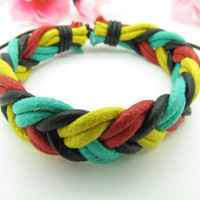 Soft Leather and Multiclour Cotton Ropes Women&#x27;s by braceletcool