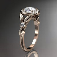 14kt rose gold diamond floral wedding ring,engagement ring ADLR129......