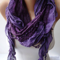 Purple Chiffon and Lace Shawl / Scarf with Lace by SwedishShop