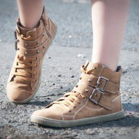 DeBlossom Cassey-13 Spike Lace Up Round Toe Sneaker (Tan) - Shoes 4 U Las Vegas
