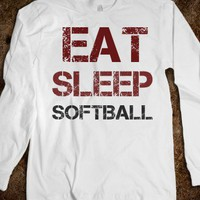 EAT SLEEP SOFTBALL LONG SLEEVE TEE T SHIRT