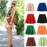 Vogue Lady Retro High Waist Pleated Double Layer Chiffon Short Mini Skirts Dress