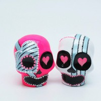 Shocking Pink Skull Wedding Cake Topper Art Handmade Gifts Decor 00038 | sweetiecaketopper - Painting on ArtFire