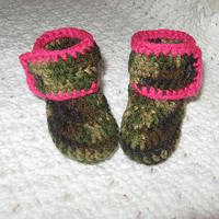 Hunting Camo and Pink Baby Booties- Photo Prop Ready to ship