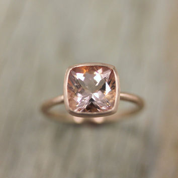 Morganite Ring in 14k Rose Gold Ring Cushion Cut by onegarnetgirl
