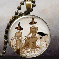 Bicycle Witch Halloween art pendant charm by thependantemporium