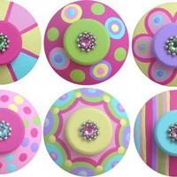 Hand Painted Colorful Swarovski Crystal Jeweled Drawer Knobs | LisaEverettDesigns - Furniture on ArtFire