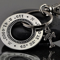 Mens Key Chain - Latitude Longitude Custom Stamped Key Chain - Stainless Steel