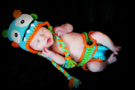 Crochet baby hat/Crochet diaper cover Monster by KCrochetdesigns