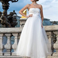 Aliexpress.com : Buy Ball Gown Strapless Ankle length Tulle Wedding Dress Beach Wedding Dresses, Bridal Gown from Reliable wedding dress suppliers on iWeddingDressesShop