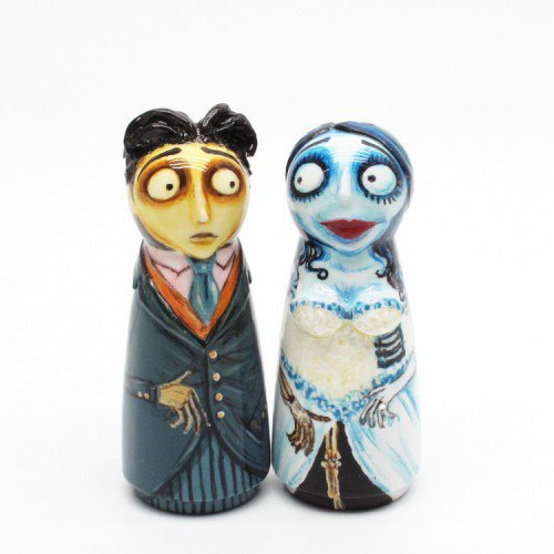 Corpse Bride Day Of The Dead Skeleton Wedding Cake Topper Gifts 0025 | sweetiecaketopper - Wedding on ArtFire