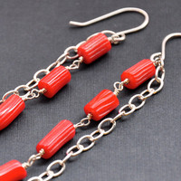 Bamboo Coral Earrings by GueGueCreations