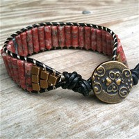 Passionista - black leather single-wrap bracelet red jasper tube beads | TOWNOFBEADROCK - Jewelry on ArtFire