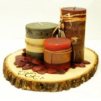 LARGE Rustic Wood Tree Slice Centerpiece - Personalized - 12 - 15 inc | roxyheartvintage - Wedding on ArtFire