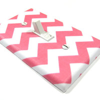 White and Pink Chevron Blake Light Switch Cover Girls Nursery Decor Wall Art Decoration Zig Zag