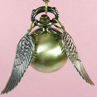 Enchanted Golden Snitch Ball POCKET WATCH Necklace by qizhouhuang