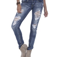 Sunbleached Destroyed Skinny Jean | Shop Sale at Wet Seal