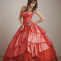 Cheap layered taffeta ball gown with a ruched embroidered tulle Coral Quinceanera Dress
