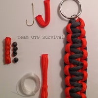 Survival Keychain: 550 Paracord with Hidden Emergency Fishing Tackle