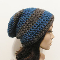 LazyDay Slouch Beanie  Sapphire Gray Stripes