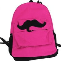 Fashion Cute Mustache Canvas Campus Bag Laptop Book Bags School Backpack 7 Colors:Amazon:Sports & Outdoors